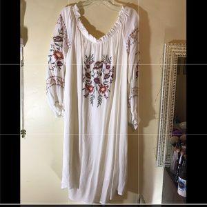 Boho Long Sleeve Embroidered Dress